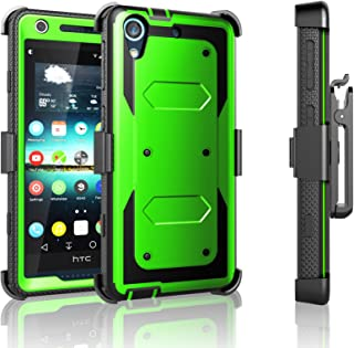 HTC Desire 626 Case, Desire 626S Case, Tekcoo [TShell Series] [Green] Shock Absorbing [Built-in Screen Protector] Holster Locking Belt Clip Defender Heavy Case Cover for HTC Desire 626S/626