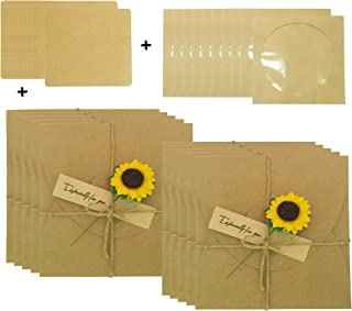 Kraft CD Sleeves Handmade Sunflower Gift Wrap DVD Envelopes with Blank Card DIY Sets for Wedding/Show/Party/Video Invitation