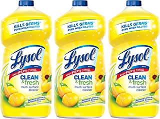 Lysol Clean and Fresh Multi-Surface Cleaner, Lemon and Sunflower, 40 Ounce (Pack of 3)