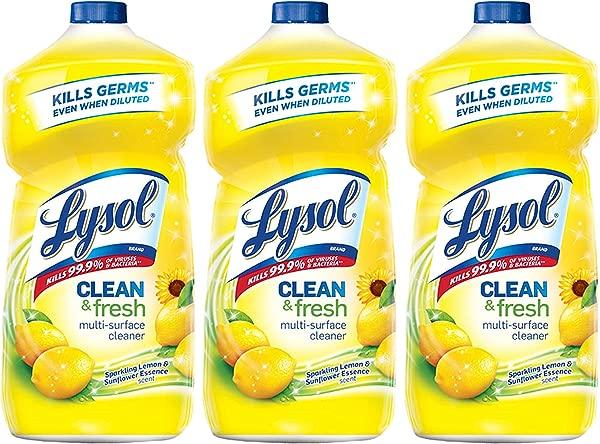 Lysol Clean Fresh Multi Surface Cleaner Lemon Sunflower 40 Ounce Pack Of 3