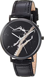 Christian Van Sant Women's Lotus Stainless Steel Quartz Leather Calfskin Strap, Black, 15.5 Casual Watch (Model: CV0424)