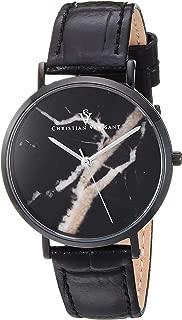 Women's Lotus Stainless Steel Quartz Leather Calfskin Strap, Black, 15.5 Casual Watch (Model: CV0424)