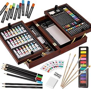 VigorfunDeluxeArtSetinWoodenCase,withSoft&OilPastels,Acrylic&WatercolorPaints,WaterColor,Sketching,Char...