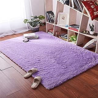 Softlife Fluffy Area Rugs for Bedroom 4' x 5.3' Shaggy Floor Carpet Cute Rug for Girls Kids Living Room Nursery Home Decor, Purple