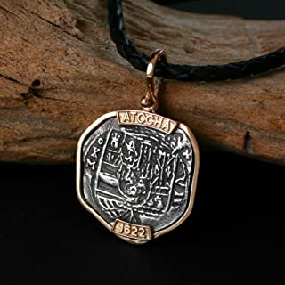 Coins from Genuine 100% Atocha Silver Shipwreck Replica Coin Pendant - Available in 14kt Gold or 925 Sterling Silver Frame - Includes Certificate of Authenticity