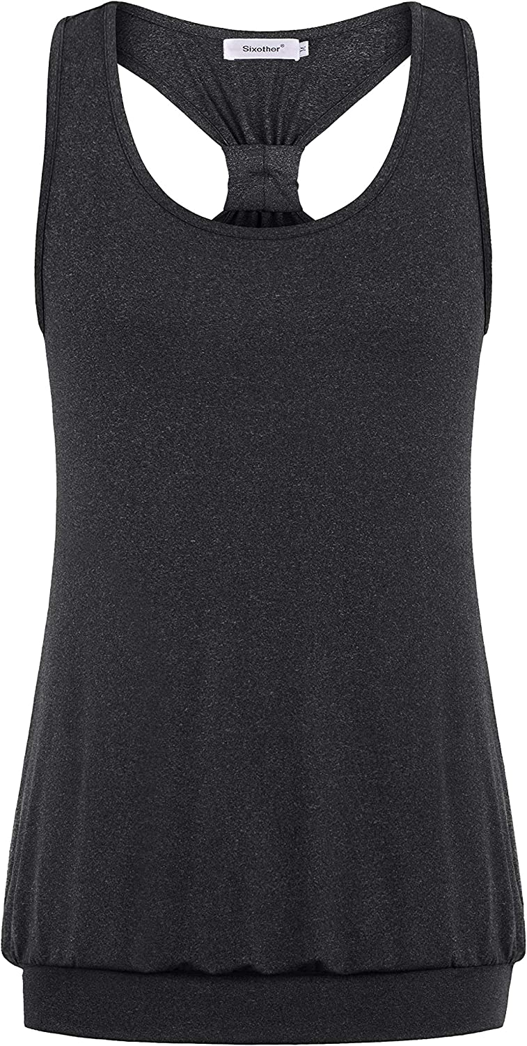 Sixother Racerback Tank Tops for Women Banded Bottom Workout Gym Athletic Shirts