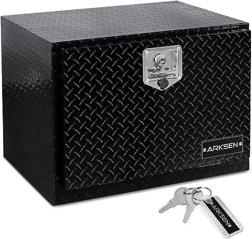 discount ARKSEN 24 Inch Durable online Aluminum Diamond Plate Tool Box Pickup Truck ATV Durable Underbody online Trailer Storage Lock W/Key, Black online sale
