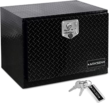 ARKSEN 24 Inch Durable Aluminum Diamond Plate Tool Box Pickup Truck ATV Durable Underbody Trailer Storage Lock W/Key, Black: image