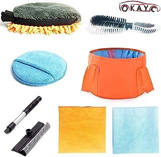 OKAYC 7 pcs Car Cleaning Tools Kit with Folding Bucket Car Tire Brush Wash Mitt Sponge Wax Applicator Microfiber Cloths Window Water Blade Brush