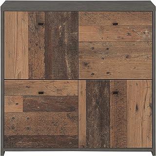 Forte Cómoda con 4 Puertas en Moderna combinación de Colores Old-Wood Vintage Combinado con Aspecto de hormigón Material ...