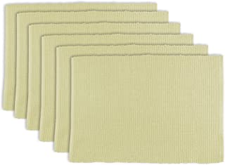 DII 100% Cotton Basic Ribbed Placemat Set, Set of 6, Natural 6 Count