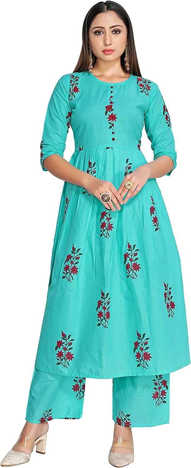 Indian Kurti for Womens Safety and trust With Pant Blue unisex Sky Block Printed Rayon
