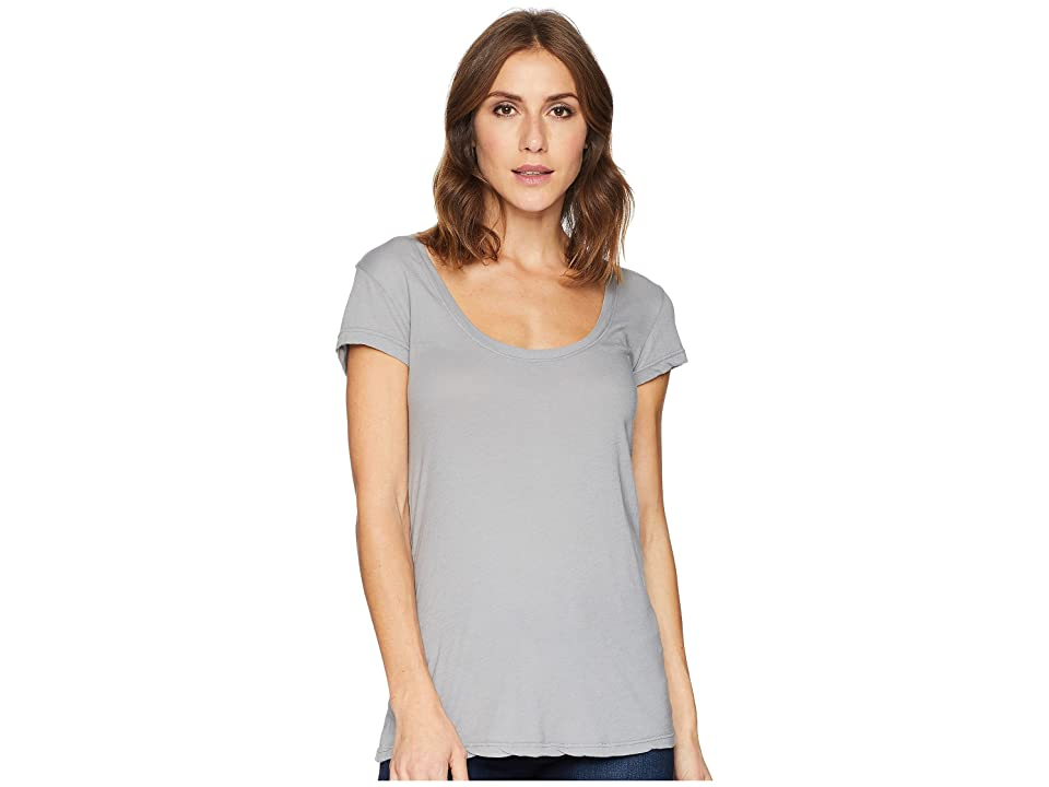 Allen Allen Basic Cap Sleeve Scoop Neck Tee (Pale Grey) Women's T Shirt