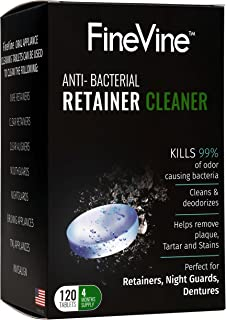 120 Retainer/Denture Cleaning Tablets - Made in USA - Removes Stains and Bad Odor from Dentures, Nightguard, Mouth Guard & Removable Dental Appliances (4 Months Supply)