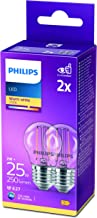 Philips LED Classic P45 Clear Light Bulb 2 Pack [E27 Edison Screw] 25W, Warm White 2700K, Non Dimmable