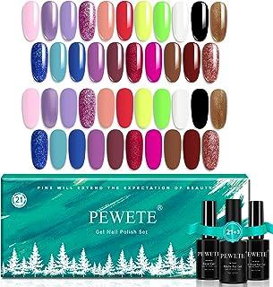 PEWETE 21 Colors Gel Nail Polish Set with Base No Wipe Glossy Top Matte Top Coat 24 Pcs Soak Off UV Gel Purple Yellow Gree...