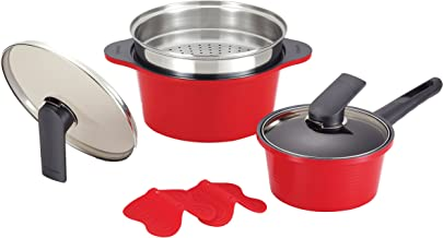 Happycall Alumite Die Cast Pots and Steamer Set, Red, 2 Pieces, (3900-2106)