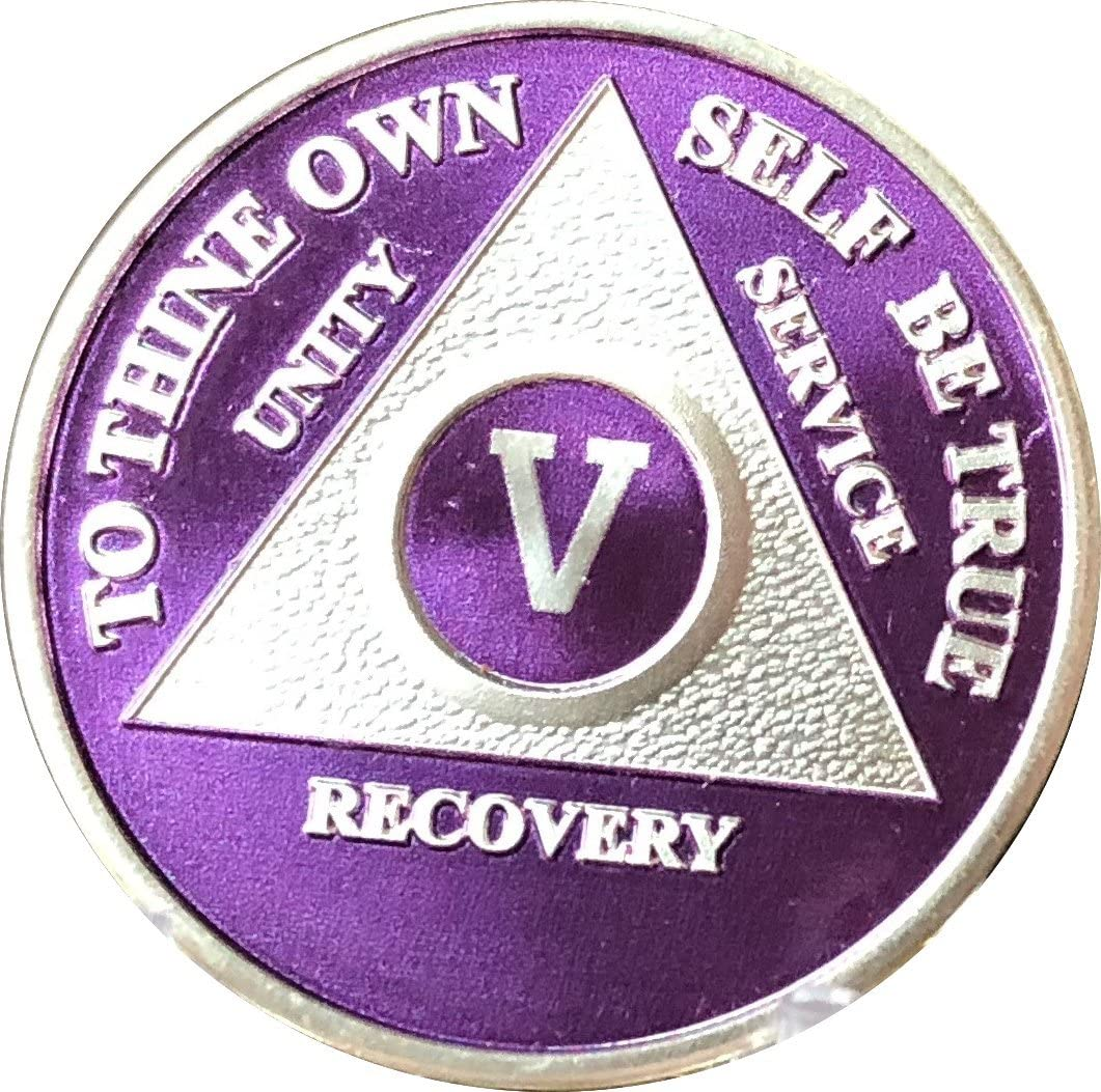 wendells 5 Year Purple High material Silver Anonymous AA Purchase Plated Alcoholics Med