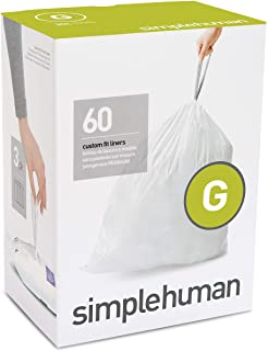 simplehuman Code G Custom Fit Drawstring Trash Bags, 30 Liter / 8 Gallon, 3 Refill Packs (60 Count)