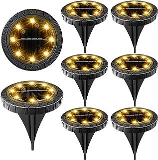 Solar Powered Ground lights 8Pack,Waterproof LED Solar Lights Outdoor Solar Disk Lights Decorative,Solar Garden Lights for...