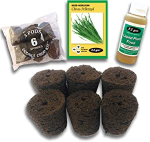 Hydrohort Chives Seed Pod Kit is Compatible with Click and Grow Smart Garden | Double The Sponges & Double The Seed for 2 Crops | Pelletized Seed Compatible with Click and Grow Pods