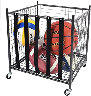 Mythinglogic Rolling Sports Ball Storage Cart, Sports Lockable Ball Storage Locker with Elastic Straps, Stackable Ball Cage for Garage Storage Garage Organizer, 6 Ball Capacity Full Size, Black,Steel