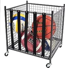 Mythinglogic Rolling Sports Ball Storage Cart, Sports Lockable Ball Storage Locker with Elastic Straps, Stackable Ball Cage for Garage Storage Garage Organizer, 6 Ball Capacity Full Size, Black,Steel