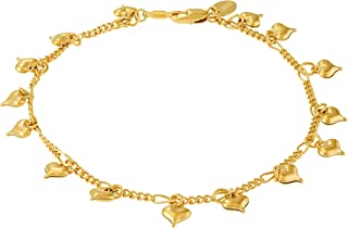 Ankle Bracelets for Women and Teen Girls [ Dangling Charm Hearts 24k Plated Gold Anklet ] Cute Foot Chain for Beach Wedding or Party - Free Lifetime Replacement Guarantee 9 10 11 inch