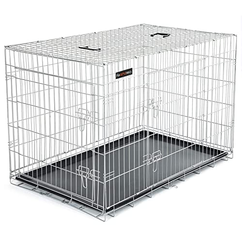 SONGMICS Jaula metálica para Perros Transportín Plegable para Mascotas Plata XXXL 122 x 76 x 81