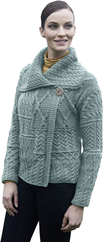 Ladies Patchwork 1 Button Collar Merino Wool Irish Cardigan