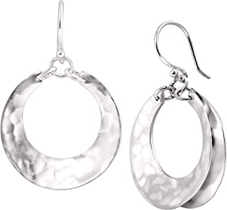 Broad Hoop' Drop Earrings in Hammered Sterling Silver
