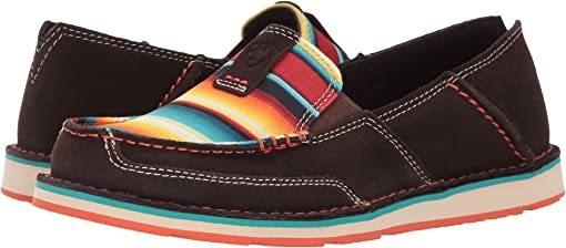 Chocolate Fudge Suede/Red Serape Print