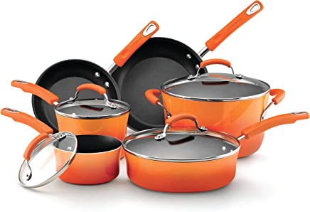 Rachael Ray Hard Enamel Nonstick 10-Piece Cookware Set, Orange Gradient