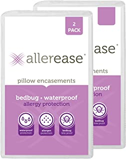 AllerEase Bed Bug Allergy Protection Zippered Pillow Protector (2 Pack)