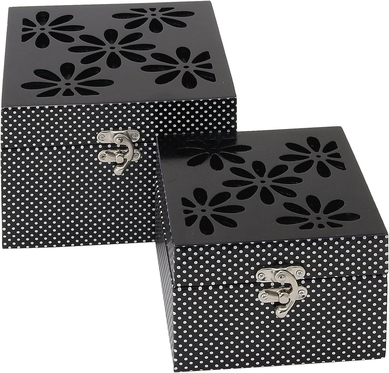 Benzara 62599 Elegant Floral Themed Wooden Mirror Box, Set of 2