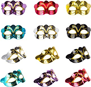 Solovey 12Pack Gold Shining Plated Party Mask Wedding Props Masquerade Mardi Gras Mask Party Costume Accessory, Large