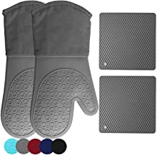 HOMWE Silicone Oven Mitts and Pot Holders, 4-Piece Set, Heavy Duty Cooking Gloves, Kitchen Counter Safe Trivet Mats, Advan...