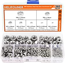 HELIFOUNER 360 Pieces 7 Sizes 304 Stainless Steel Hex Nuts Assortment Kit (M2 M2.5 M3 M4 M5 M6 M8)