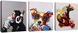 Modern Pop Art Decor - Framed (3 Pack) - Bear on Motorcycle Thinking Monkey Happy Jack Russel Animal Art Canvas Print Home Decor
