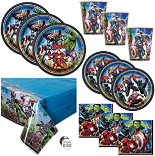 Avengers Theme Birthday Party Supplies Set - Serves 16 Guests - Table Cover, Large and Small Plates, Cups, Napkins and Button