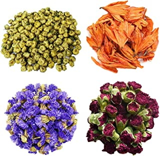 TooGet Flower Petals and Buds Includes Chrysanthemum, Lily, Forget-me-not, Dianthus caryophyllus, Green Tea Bulk Flower to Make Botanical Oil, Perfect for All Kinds of Crafts