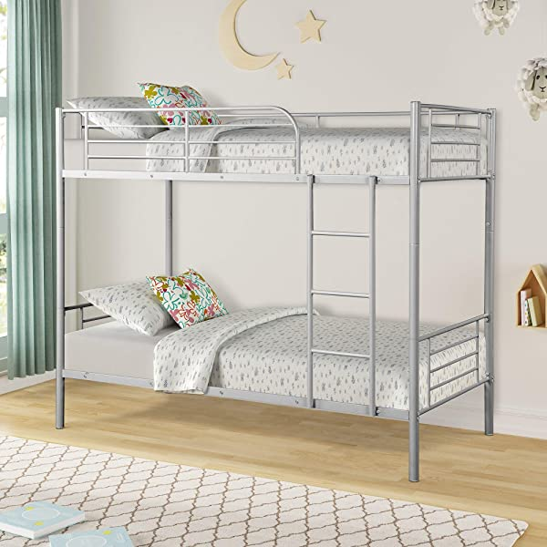 DERCASS Metal Twin Bunk Beds Detachable Bed With Ladder And Guard Rails Silver