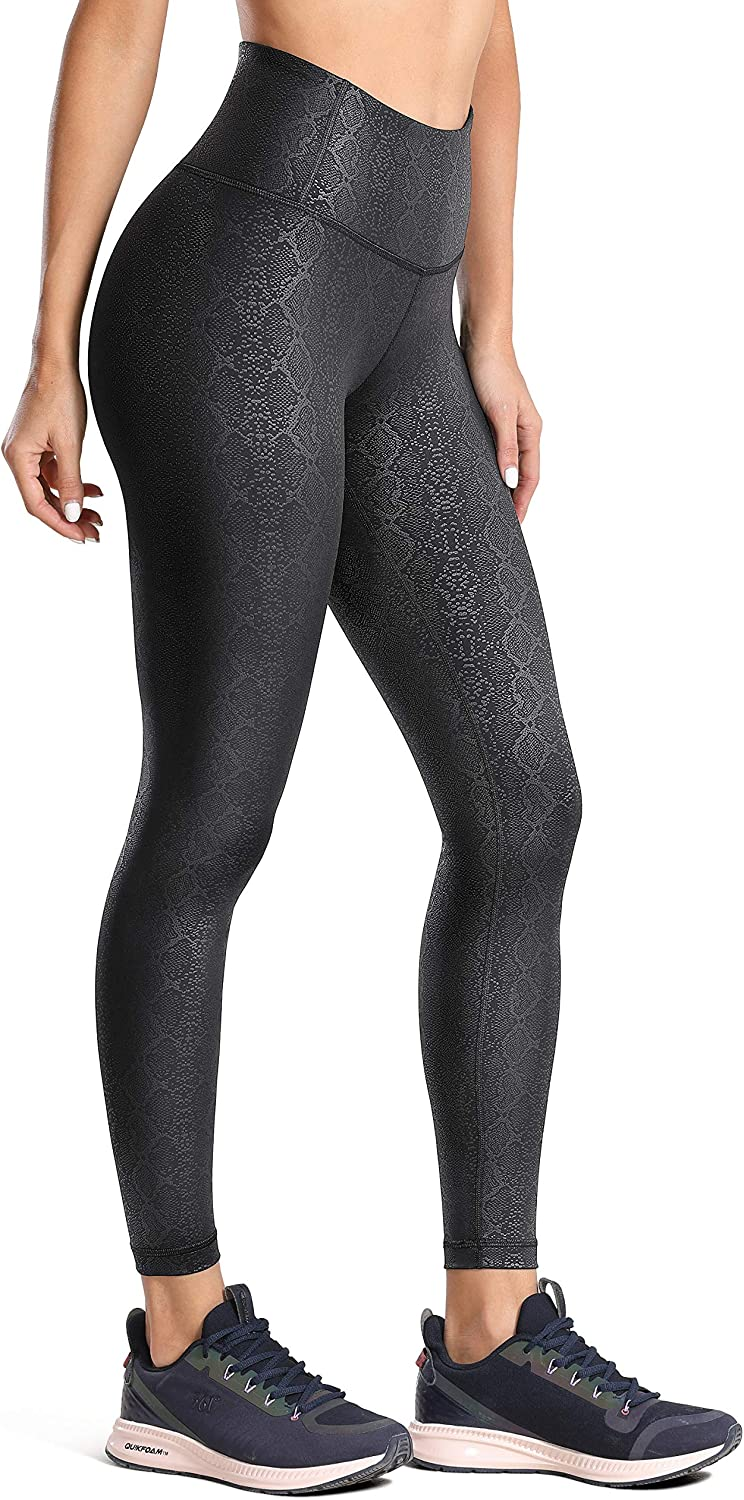 25 Inches CRZ YOGA Womens Fashion Coated Faux Leather Legging High Waist Pants Workout Tights