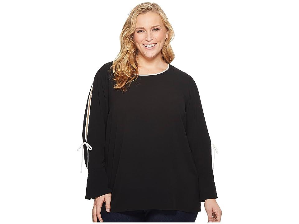 Vince Camuto Specialty Size Plus Size Long Sleeve Flutter Cuff Split Sleeve Blouse (Rich Black) Women's Blouse