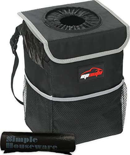 popular epauto Waterproof discount Car Trash Can with Lid and Storage Pockets, outlet sale Black sale