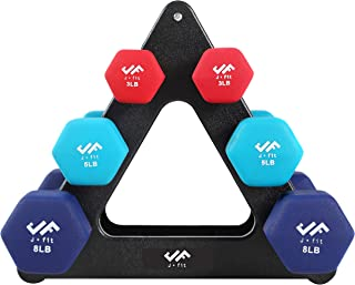 j/fit Dumbbell Set w/Durable Rack | Solid Design | Double Neoprene Coated Workout Weights Non-Chip and Flake | Dumbbells S...