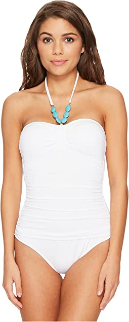Beach Club Bead Necklace One-Piece Bandeau Slimming Fit w/ Molded Cup
