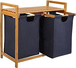 kksmile Panier à linge en bambou avec 3 compartiments, panier à linge 3 compartiments, facile à assortir, avec 2 sacs à li...