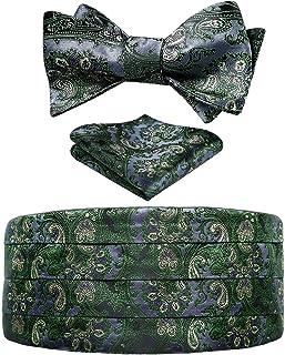 HISDERN Men's Floral Paisley Silk Cummerbund & Self Bowtie & Pocket Square Set