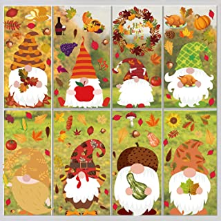 FullJoyHut Automne Décoration Autocollant Fenêtre Sticker Thanksgiving Décoration Verre Autocollant Feuille d'érable Gnome...